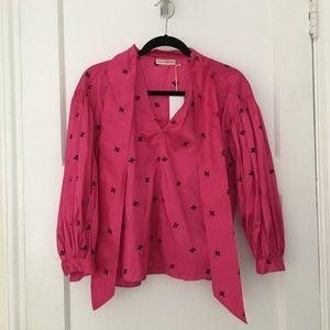 Ulla Johnson pink Dorsa tie neck silk top blouse